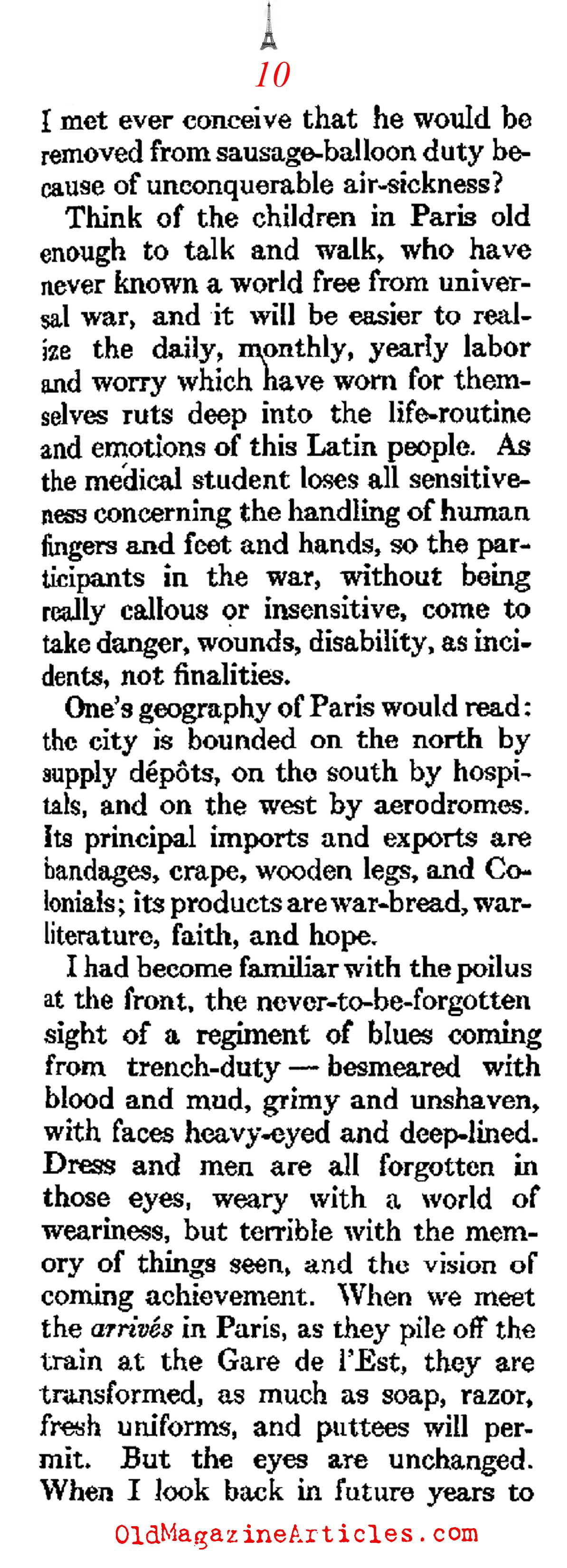 The Atmosphere of W.W. I Paris   (Atlantic Monthly, 1918)