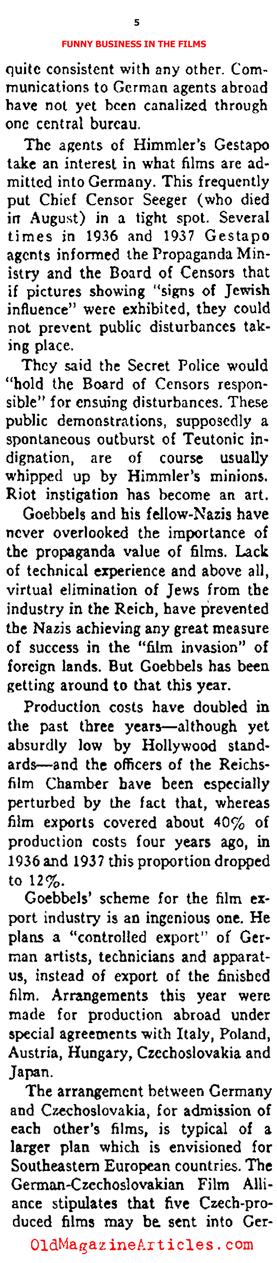 The Nazi Hollywood (Ken Magazine, 1938)