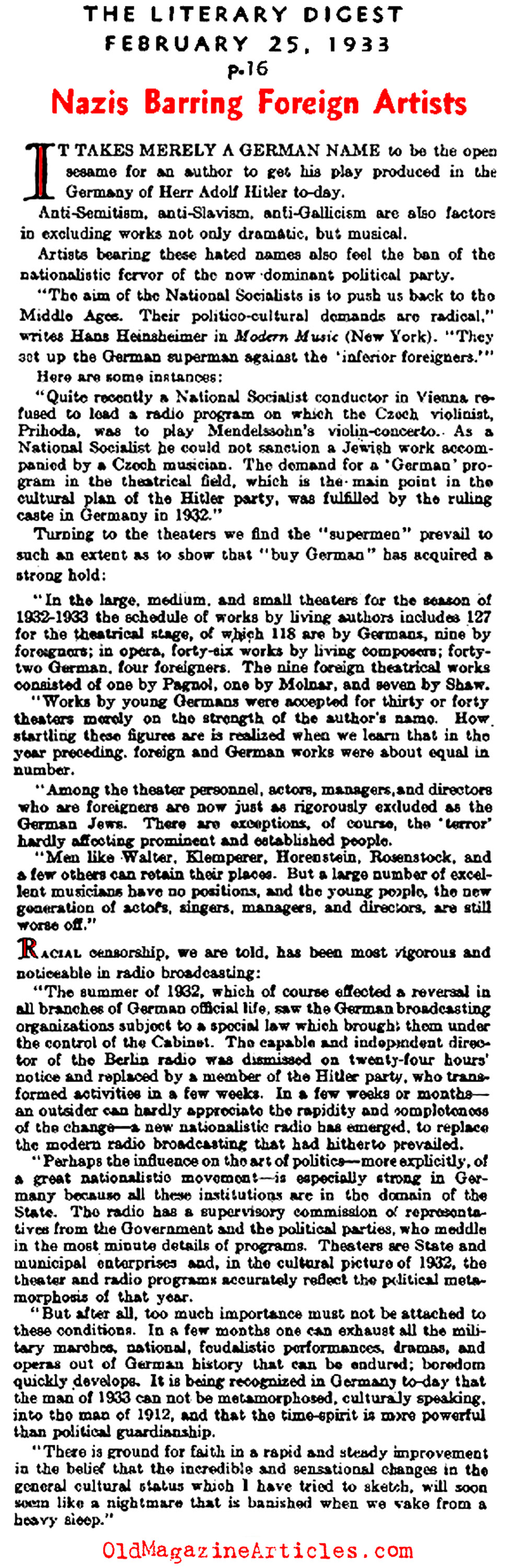 Foreign Artists Barred from Germany (Literary Digest, 1933)