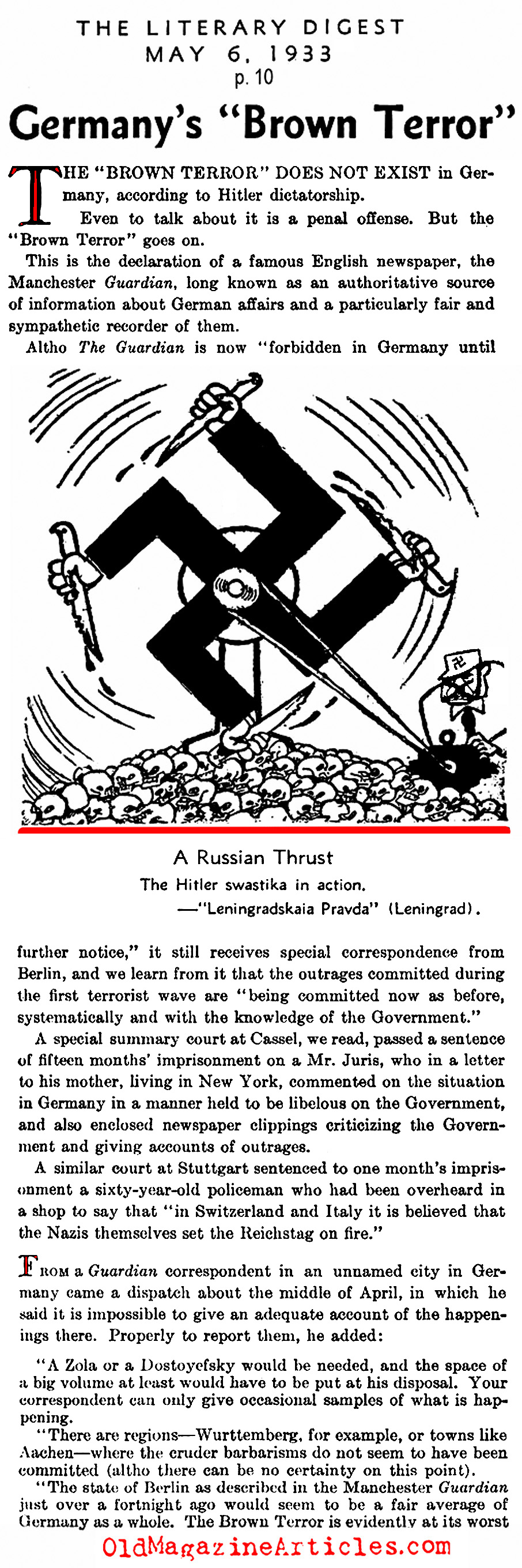 The Terror of the Nazi Stormtroopers (Literary Digest, 1933)