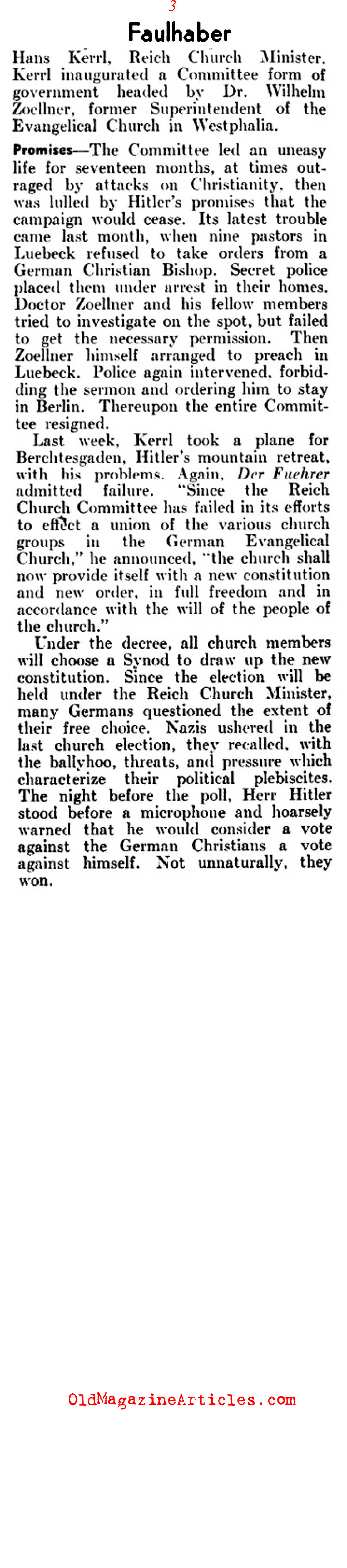 Catholic Hierarchy Pressured in 1930s Germany  (Literary Digest, 1937)