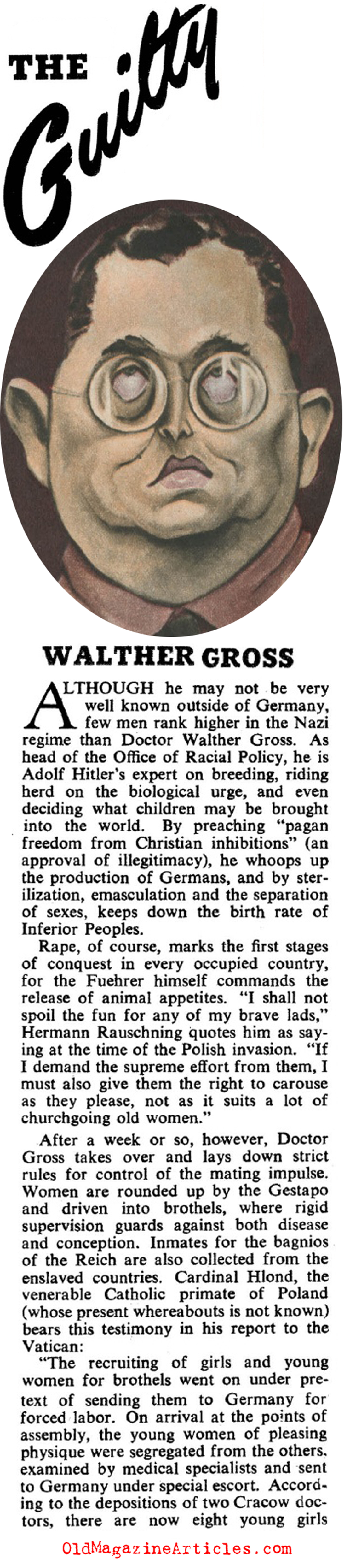 Dr. Walter Gross and the Office of Racial Policy (Collier's Magazine, 1944)
