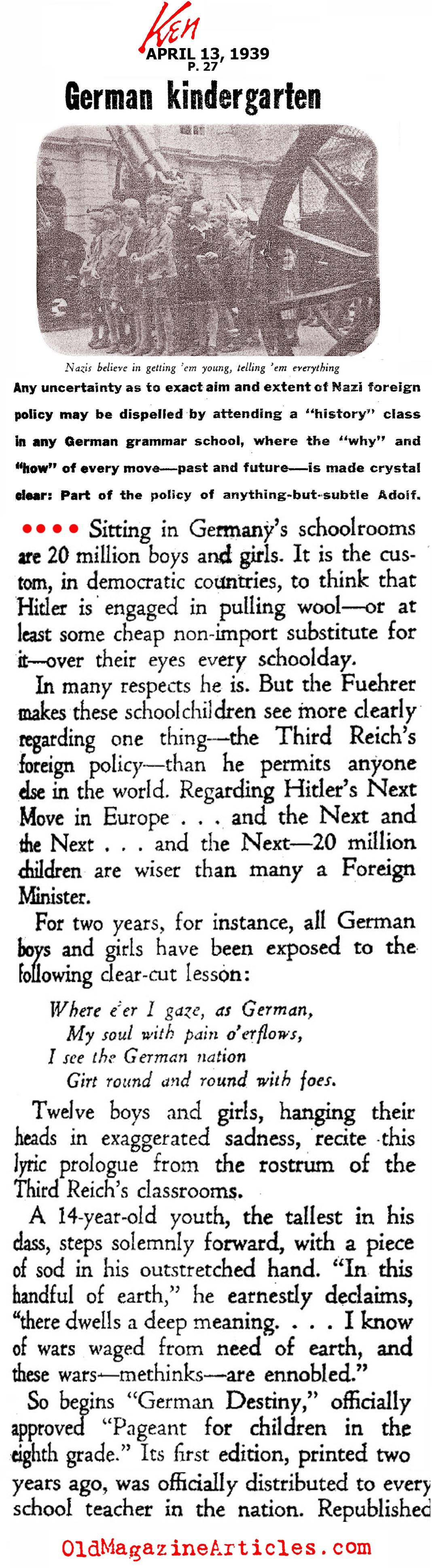 Nazi Indoctrination: the Eighth Grade  (Ken Magazine, 1939)
