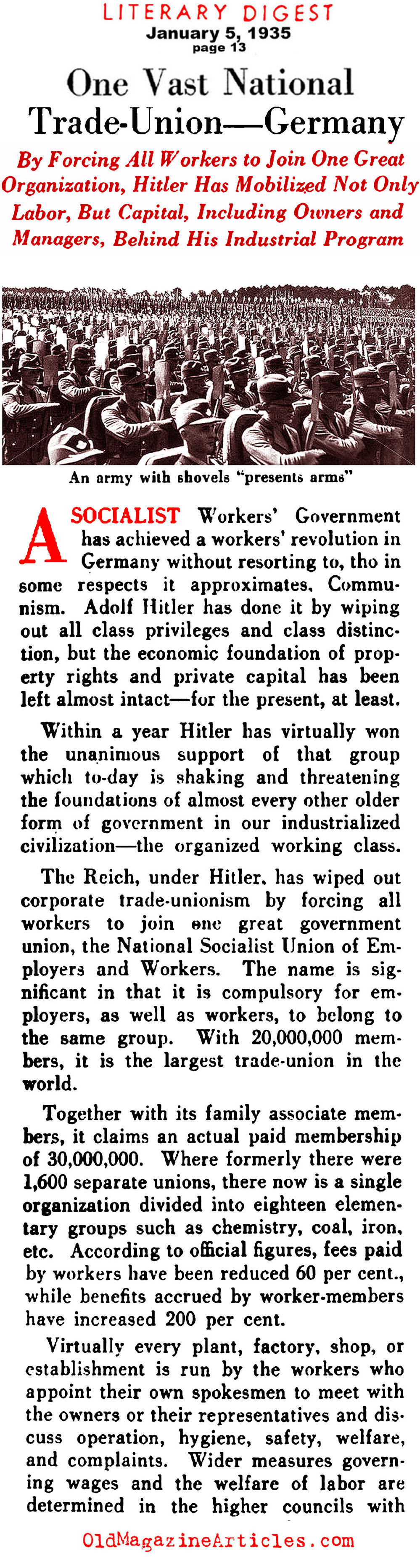A Socialist Remedy for Nazi-Germany's Labor Questions (Literary Digest, 1935)