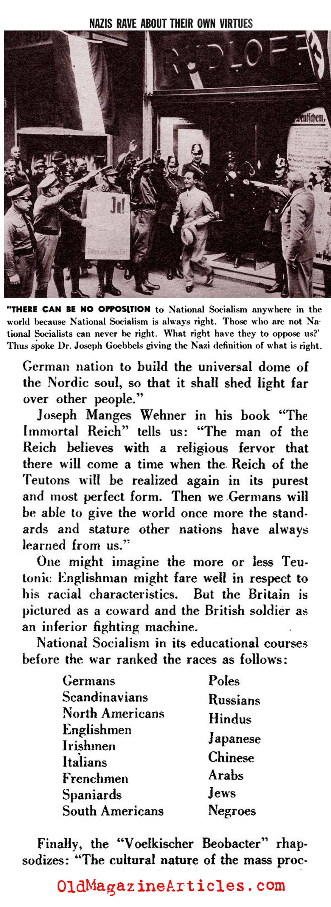 The Nazis Liked to  Flatter Themselves (Pic Magazine, 1943)