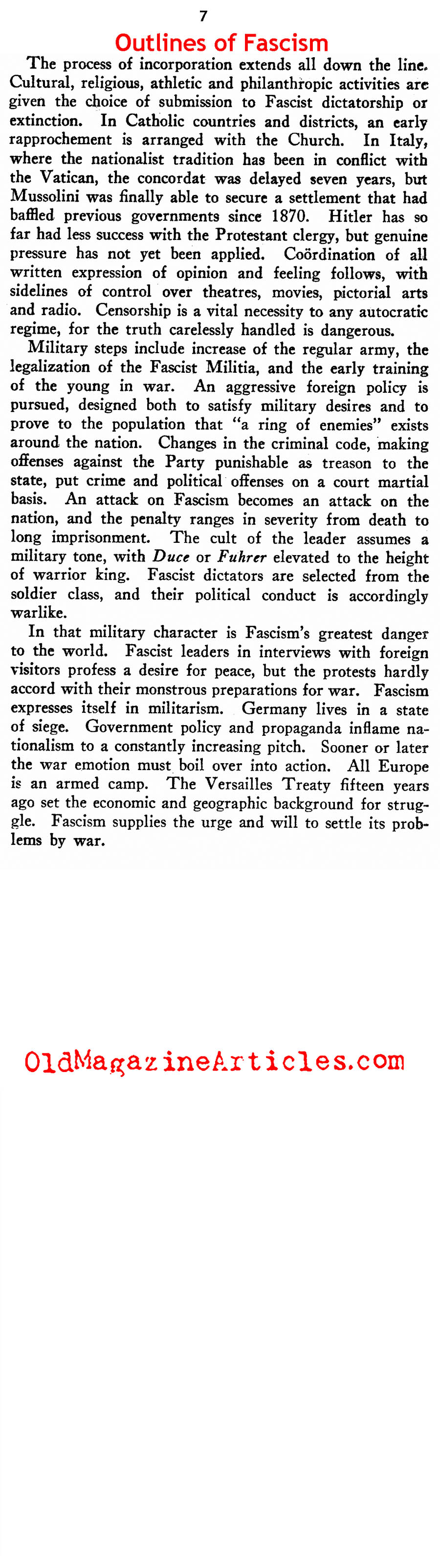 ''Outlines of Fascism'' (New Outlook Magazine, 1934)