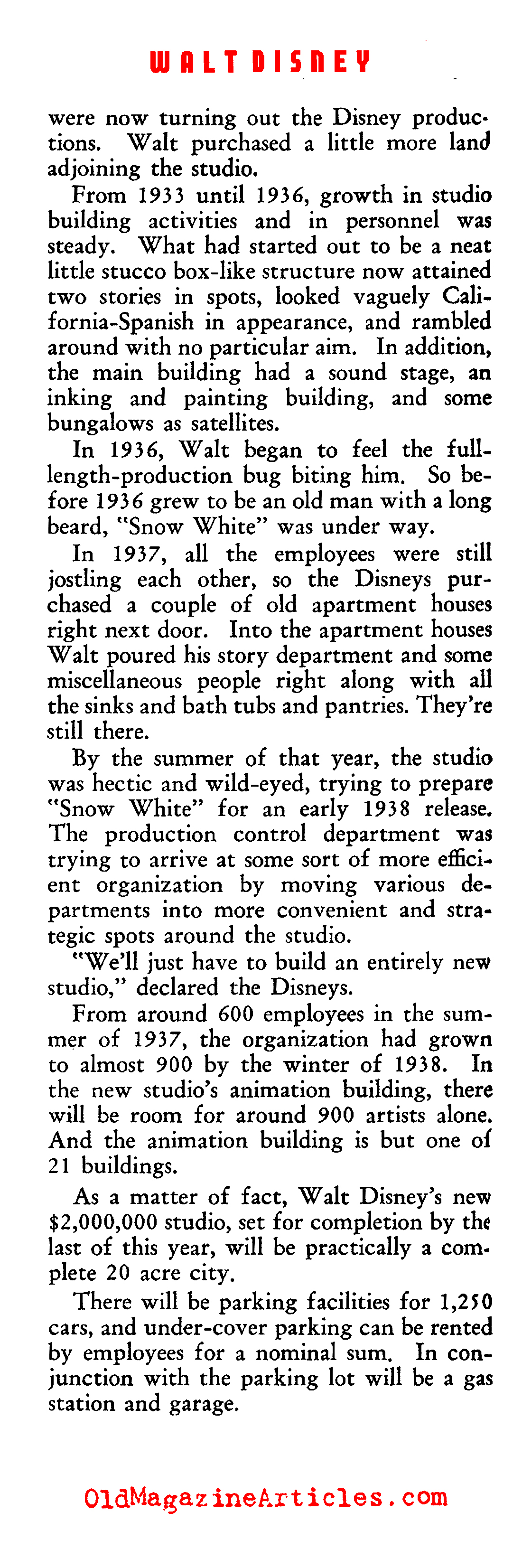 Growth and Expansion at the Walt Disney Company (Film Daily, 1939)