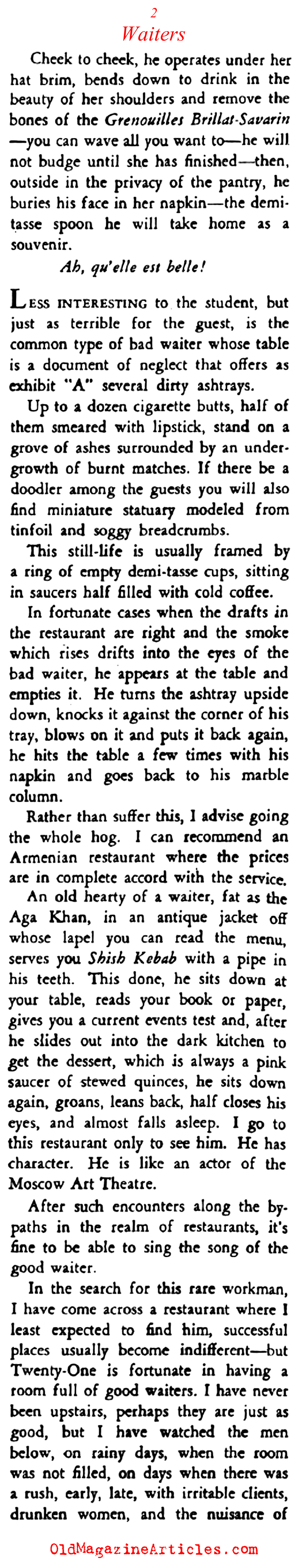 A Word on New York Waiters (Stage Magazine, 1939)