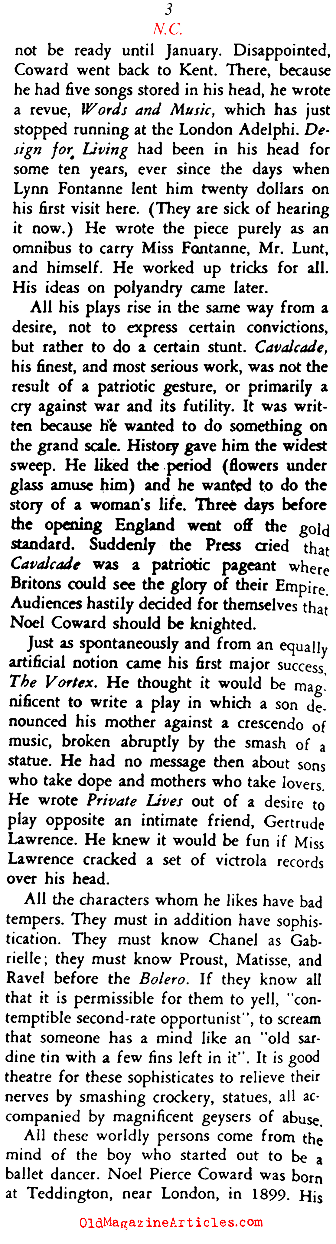 Noël Coward (Stage Magazine, 1933)