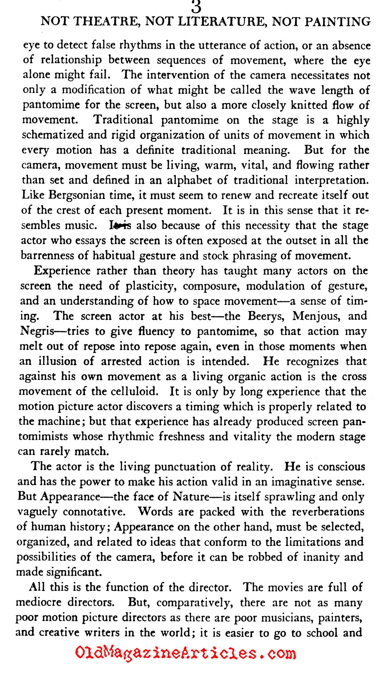 ''Film Cannot Be Art'' (The Dial Magazine, 1927)