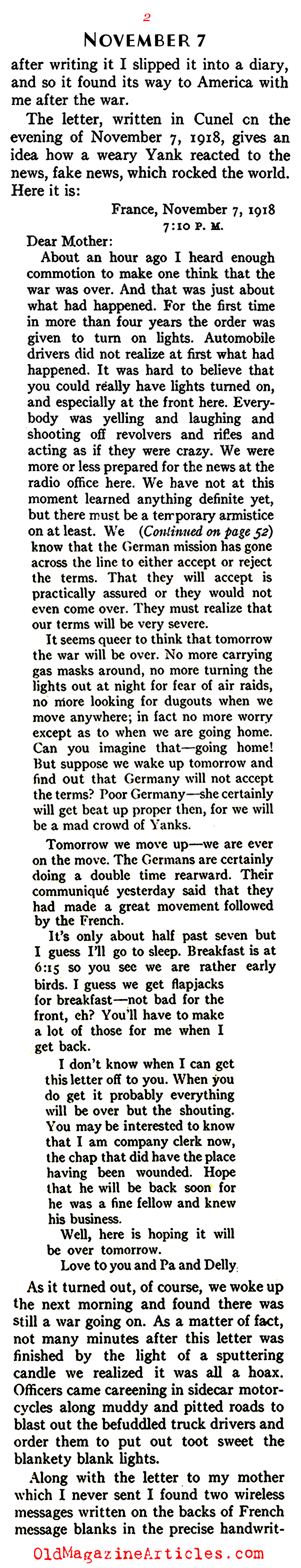 The German Peace Delegation Crosses the Lines (American Legion Monthly, 1938)