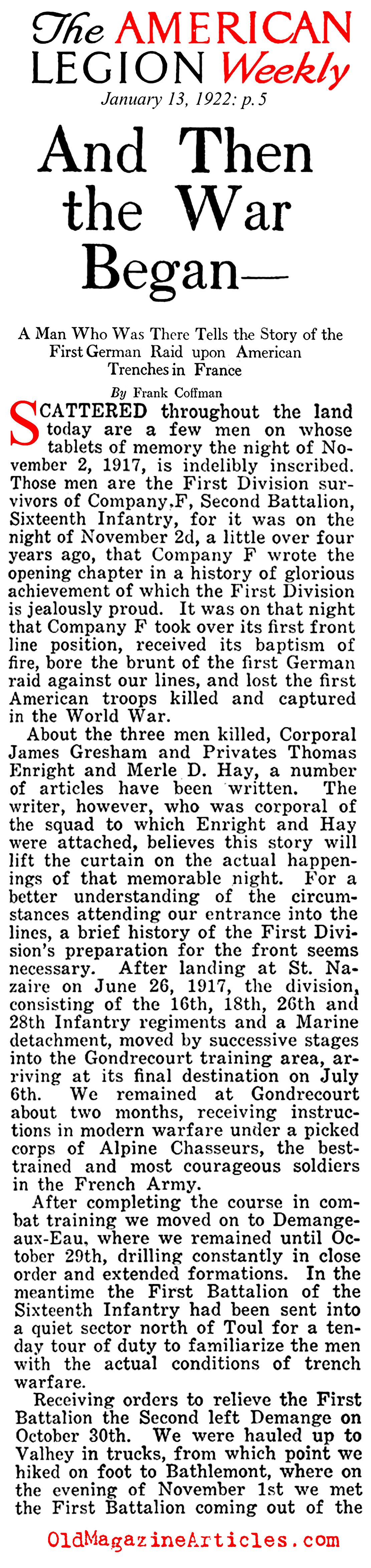First Blood (American Legion Weekly, 1922)