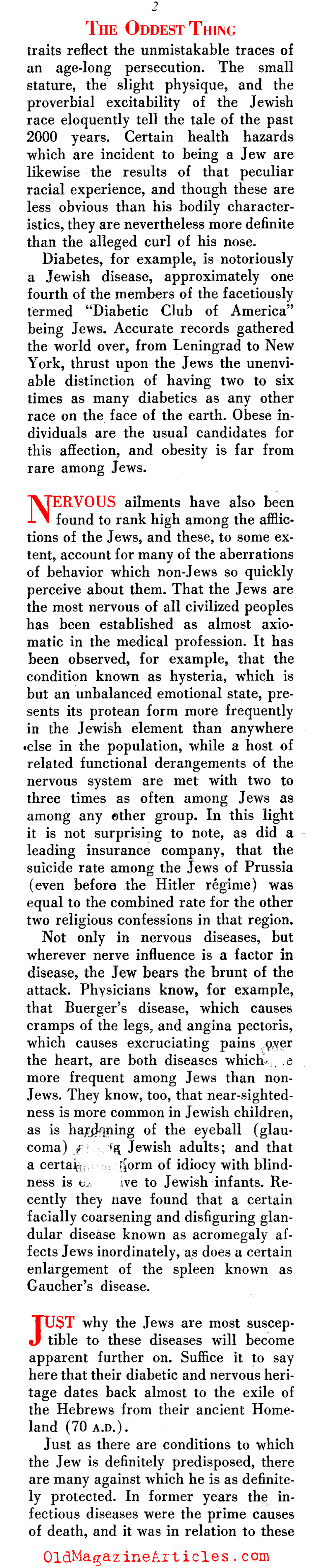 ''The Oddest Thing About the Jews'' (Scientific Americans, 1935)