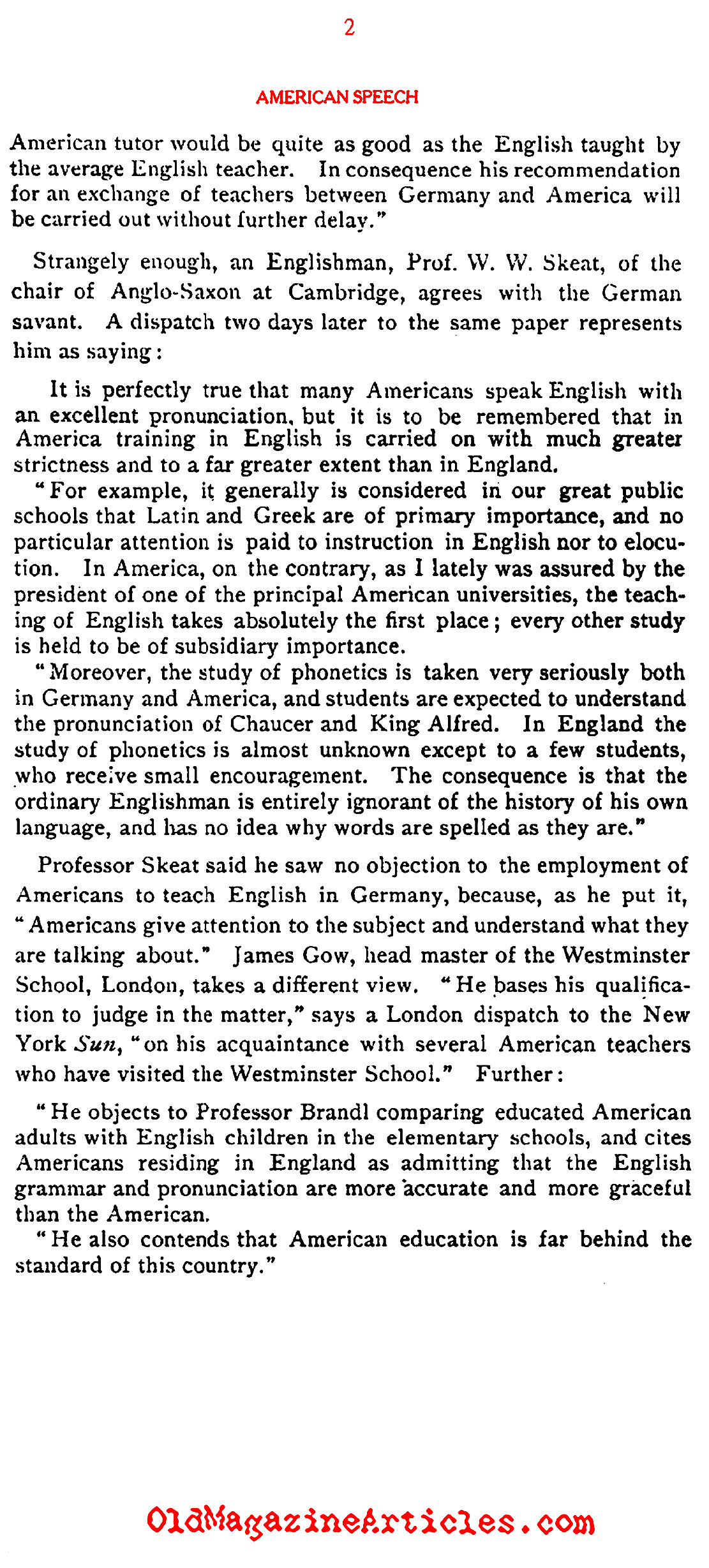 A German Champion of American English (Literary Digest, 1908)