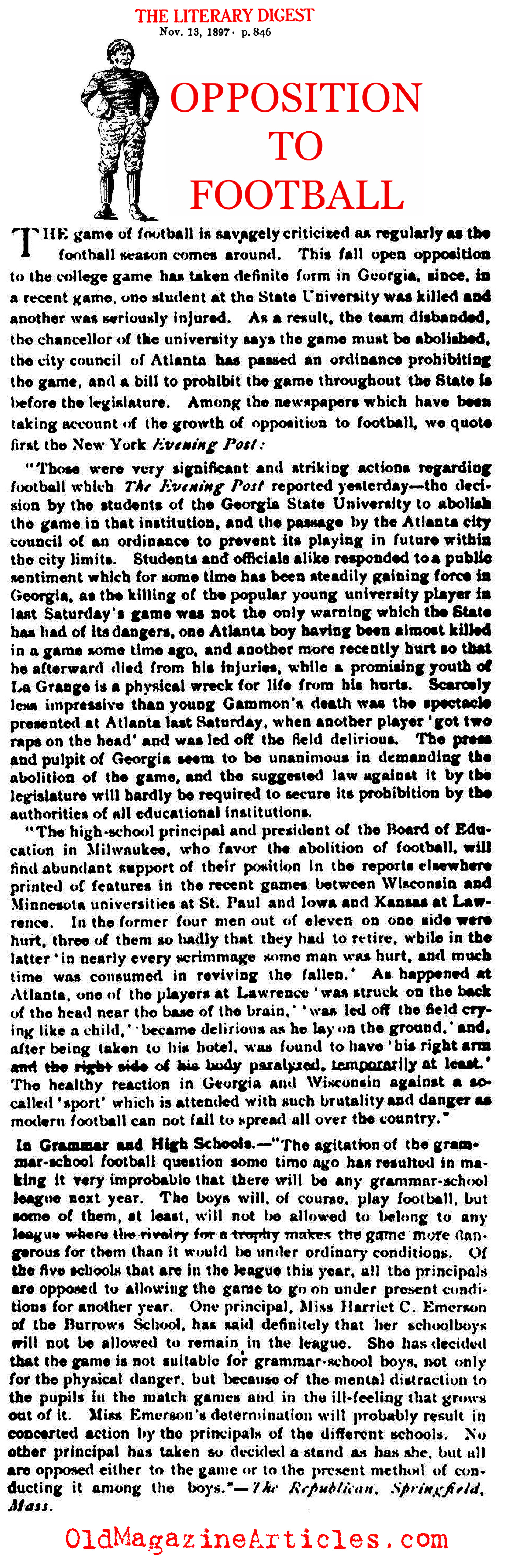 The Case Against Football (Literary Digest, 1897)