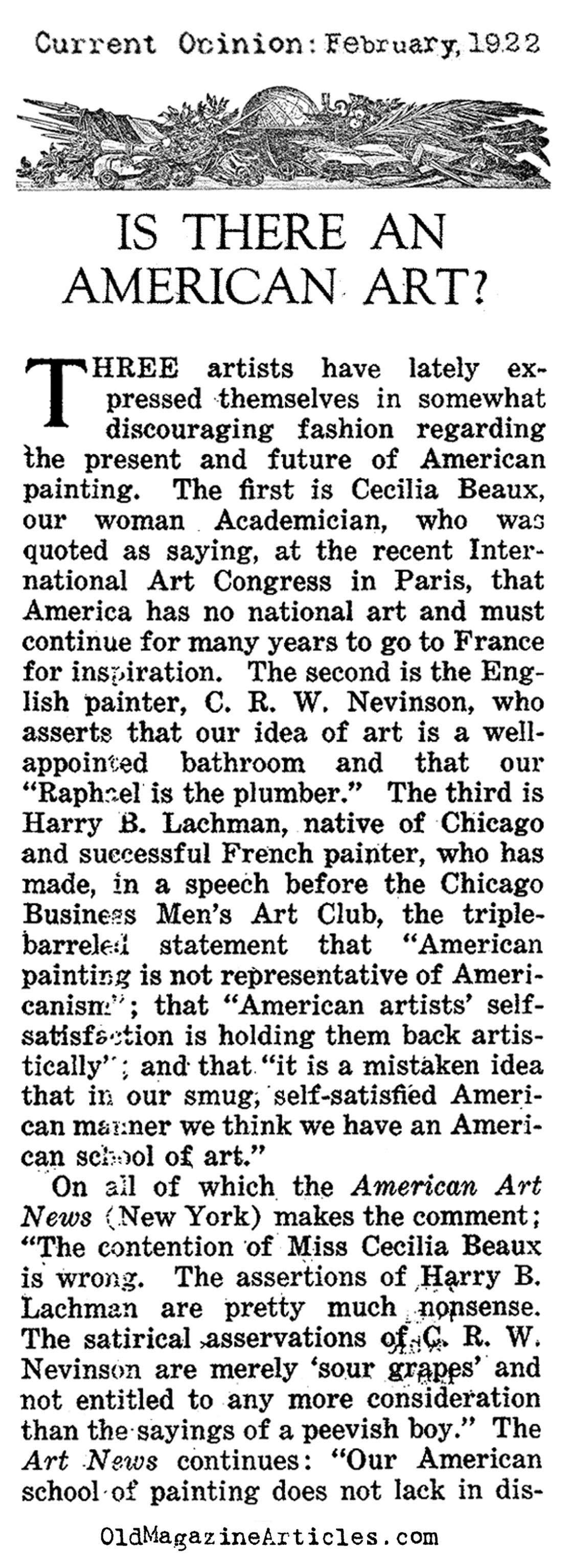 Is There an American Art? (Current Opinion, 1922)