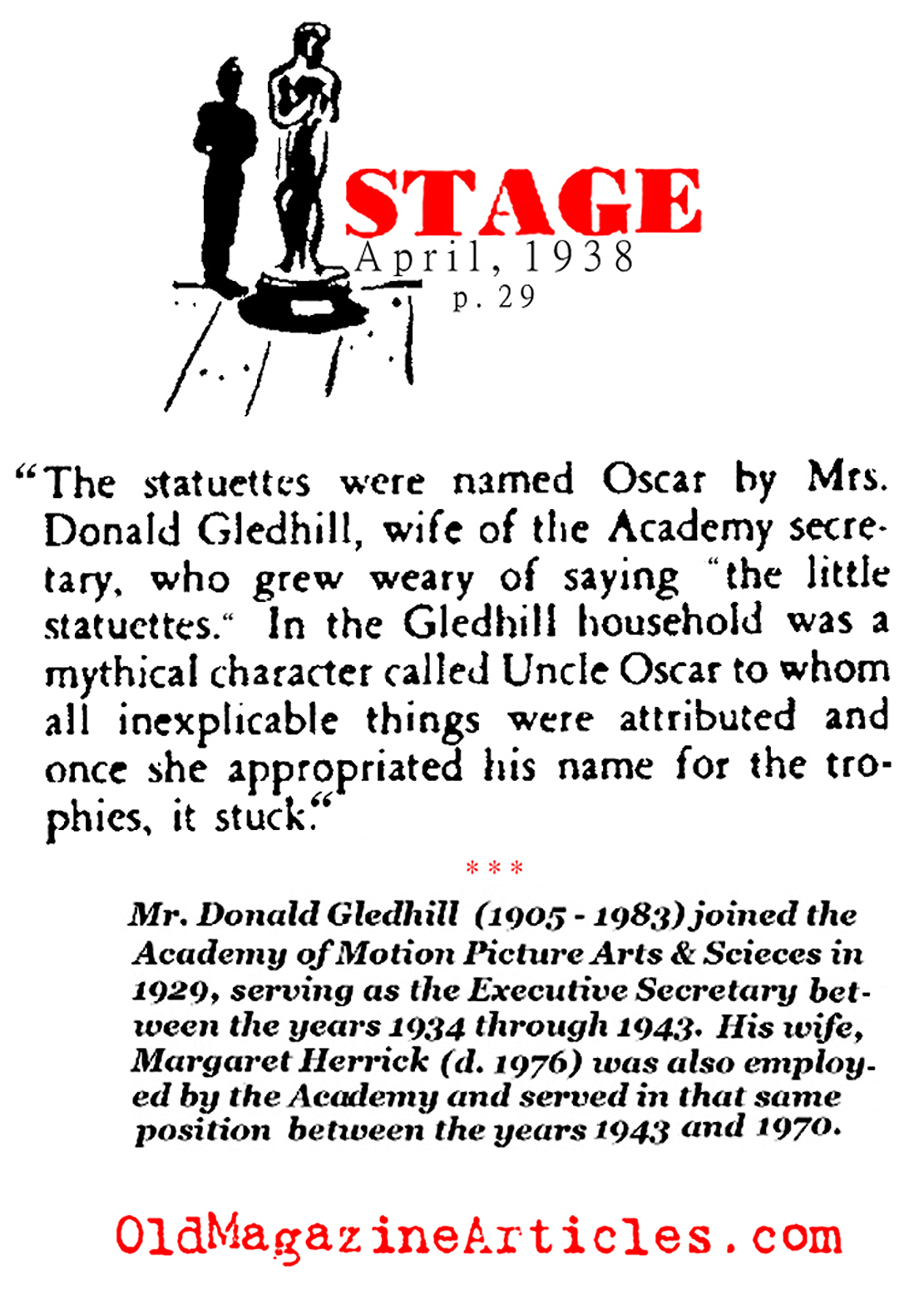 How the Academy Award Got Nicknamed 'Oscar' (Stage Magazine, 1938)