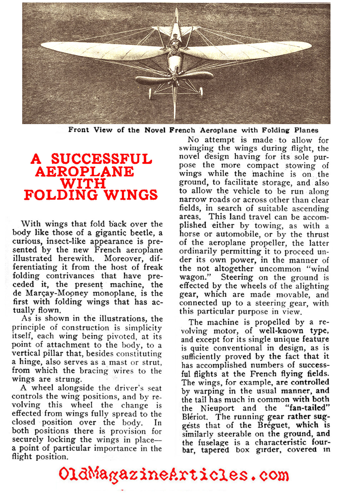 The First Folding Wing Monoplane (Popular Mechanics, 1912)