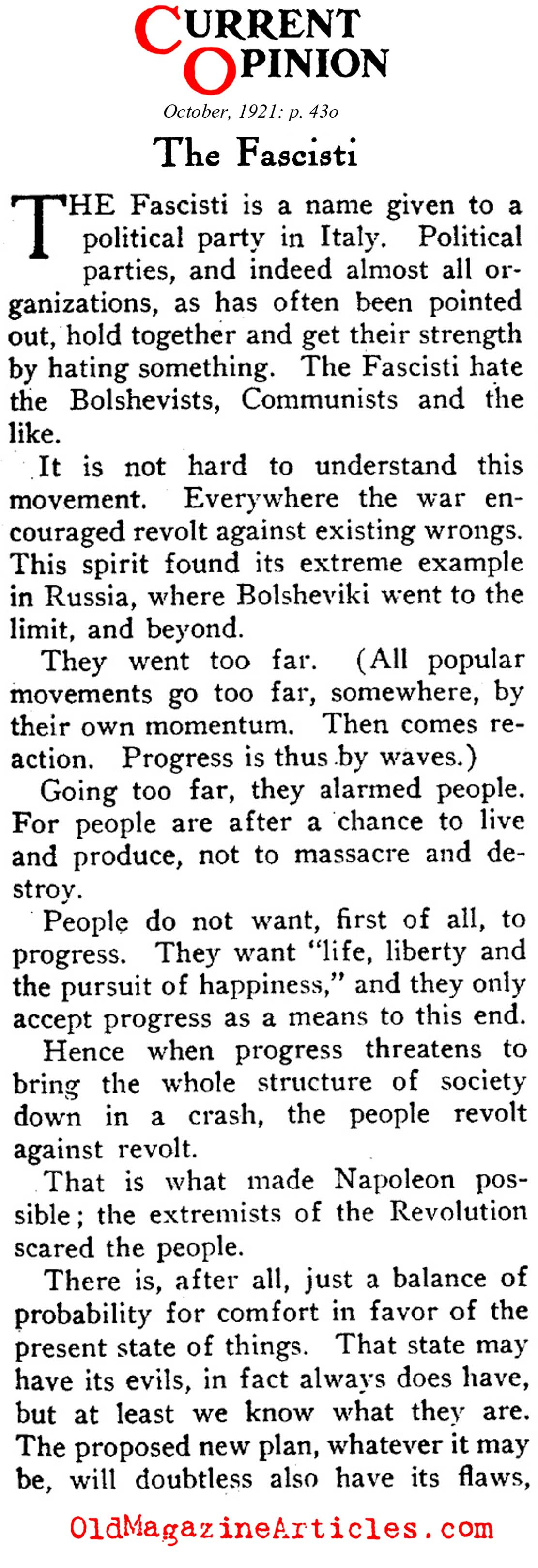 The Fascisti (Current Opinion, 1921)