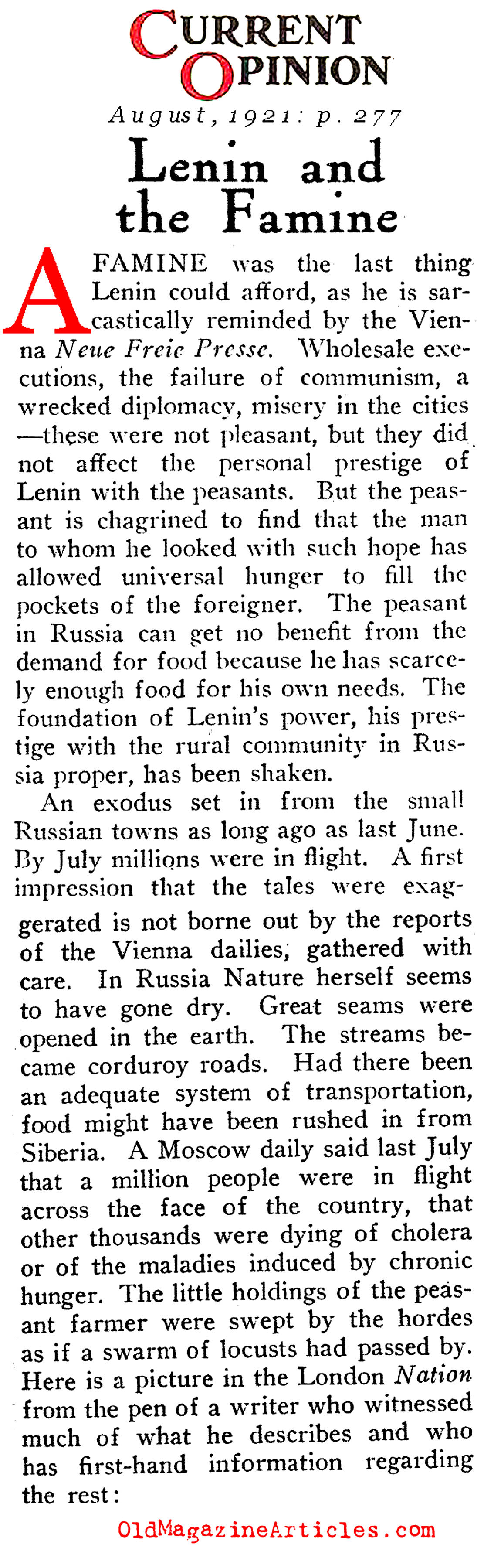 Starvation in the Worker's Paradise  (Current Opinion, 1921)