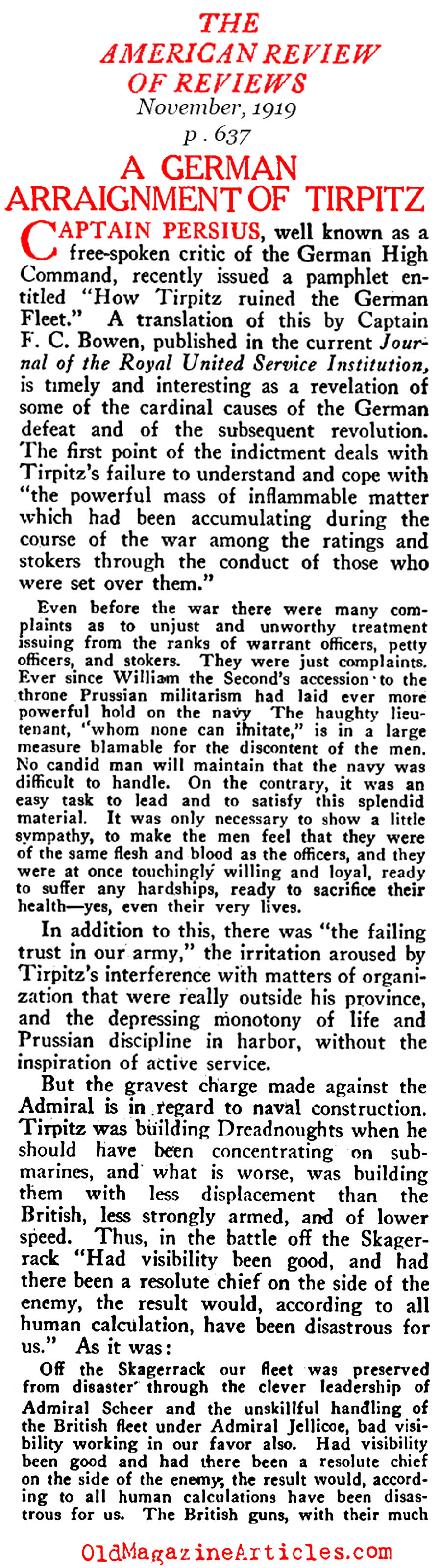 German Admiral Von Tirpitz Condemned (Review of Reviews, 1919)