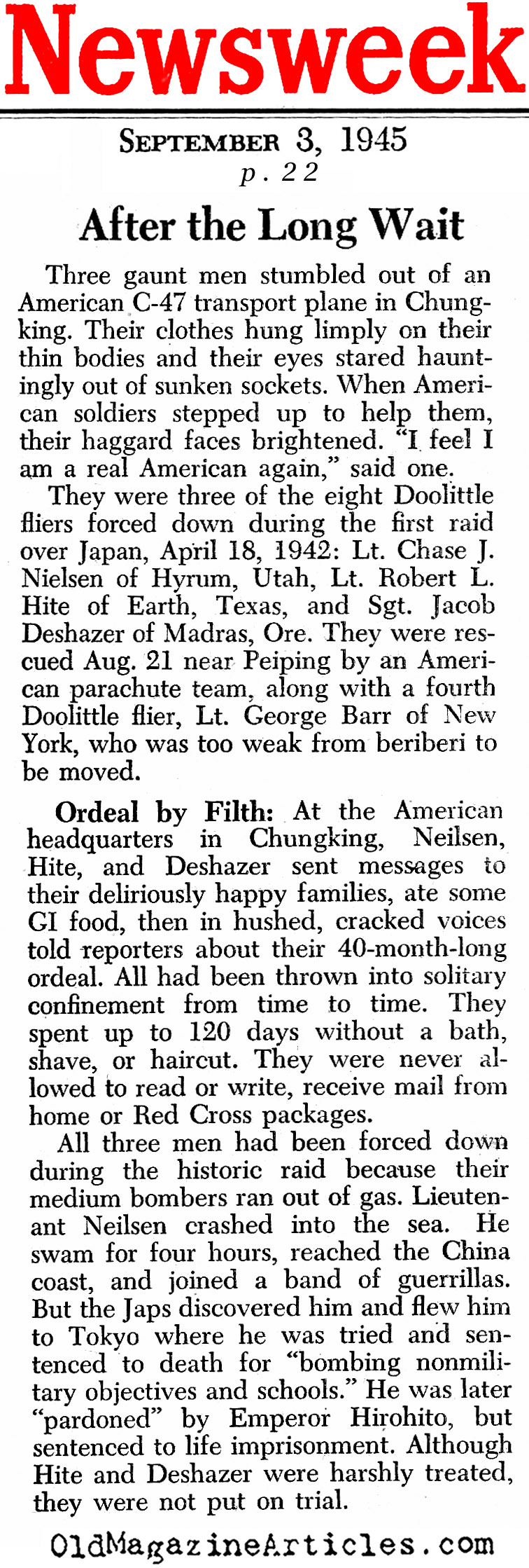 Three Doolittle Raiders Released from Captivity (Newsweek Magazine, 1945)