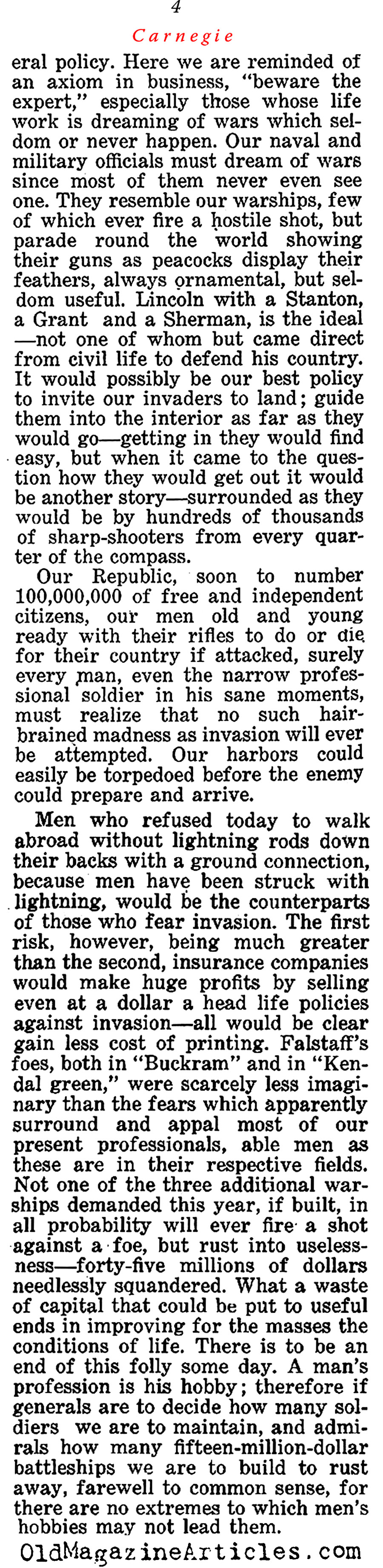 ''The Baseless Fear of War'' by Andrew Carnegie (The Independent, 1913)