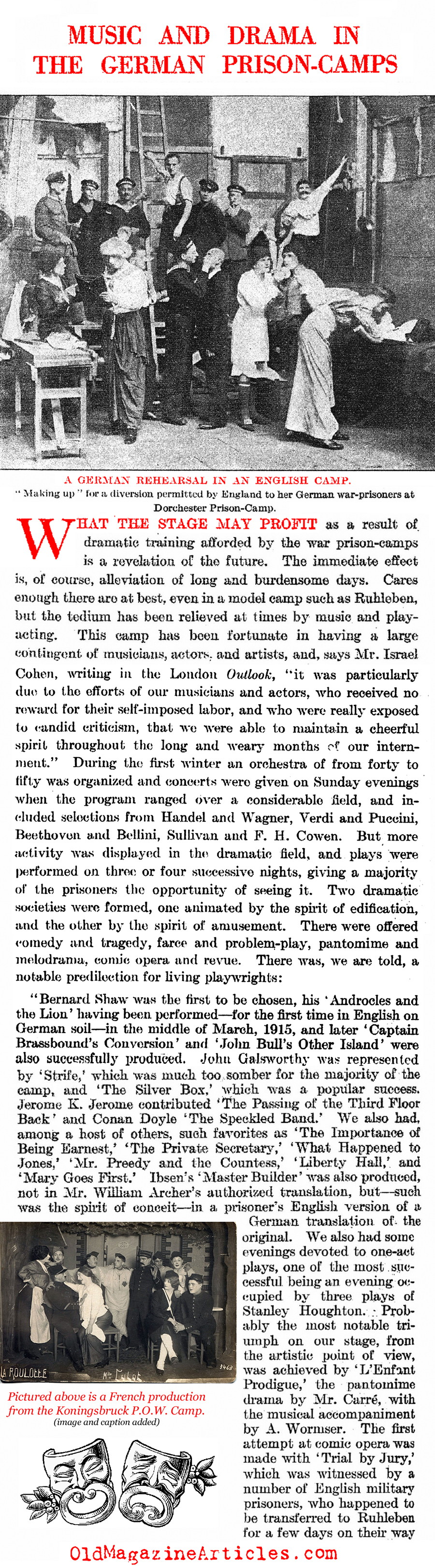 High Culture in World War One Prison Camps (Literary Digest, 1917)