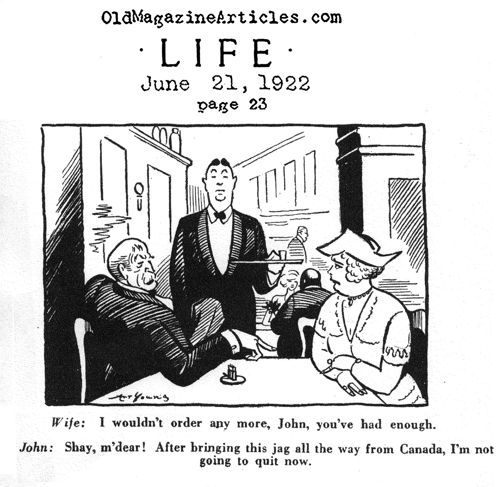 A Prohibition Cartoon by Art Young (Life, 1922)