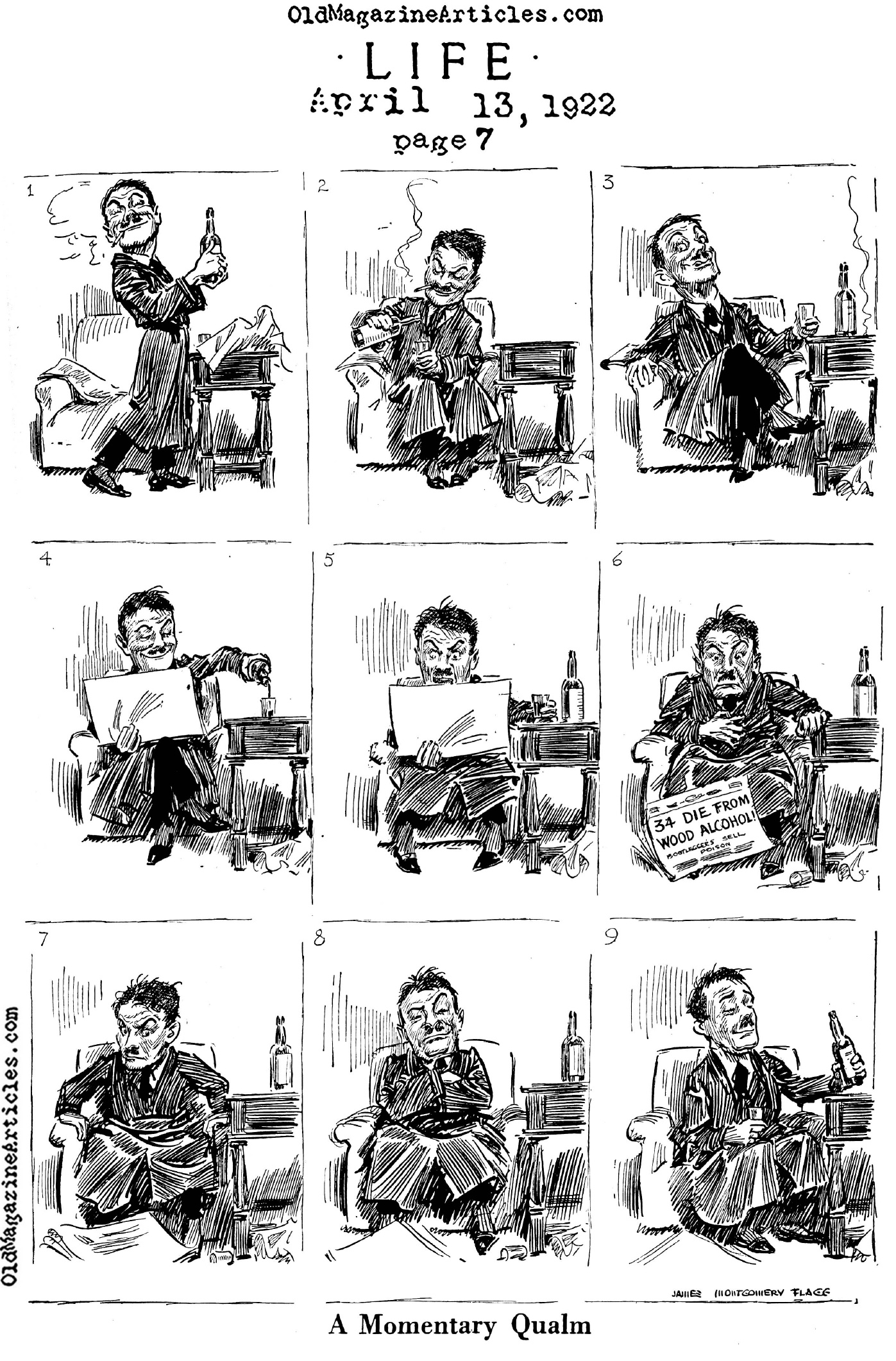 james montgomery flagg cartoon 1922 what was dangerous about a prohibition cartoon by james montgommery flagg life magazine 1922