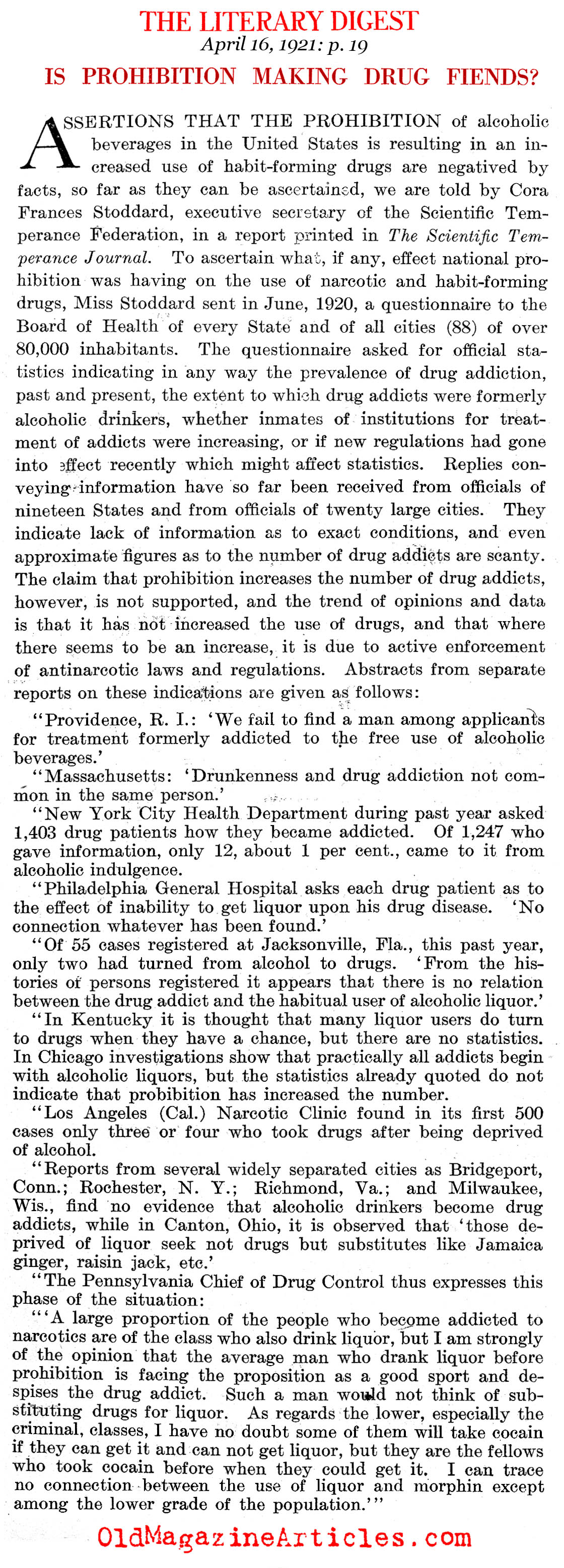 Will Prohibition Create More Drug Users? (The Literary Digest, 1922)