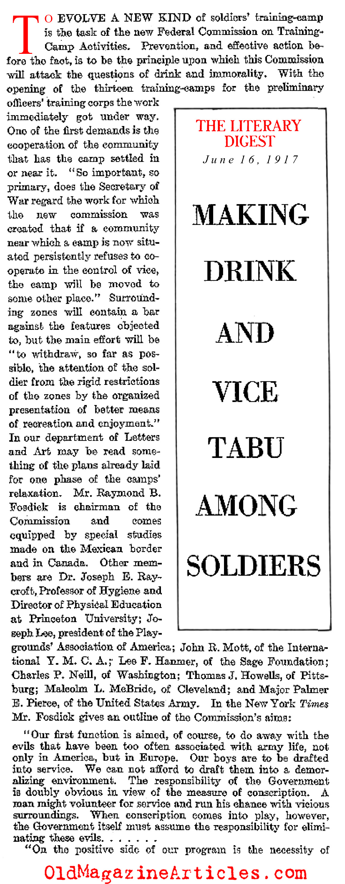 The Army as Moral Guardian...  (Literary Digest, 1917)