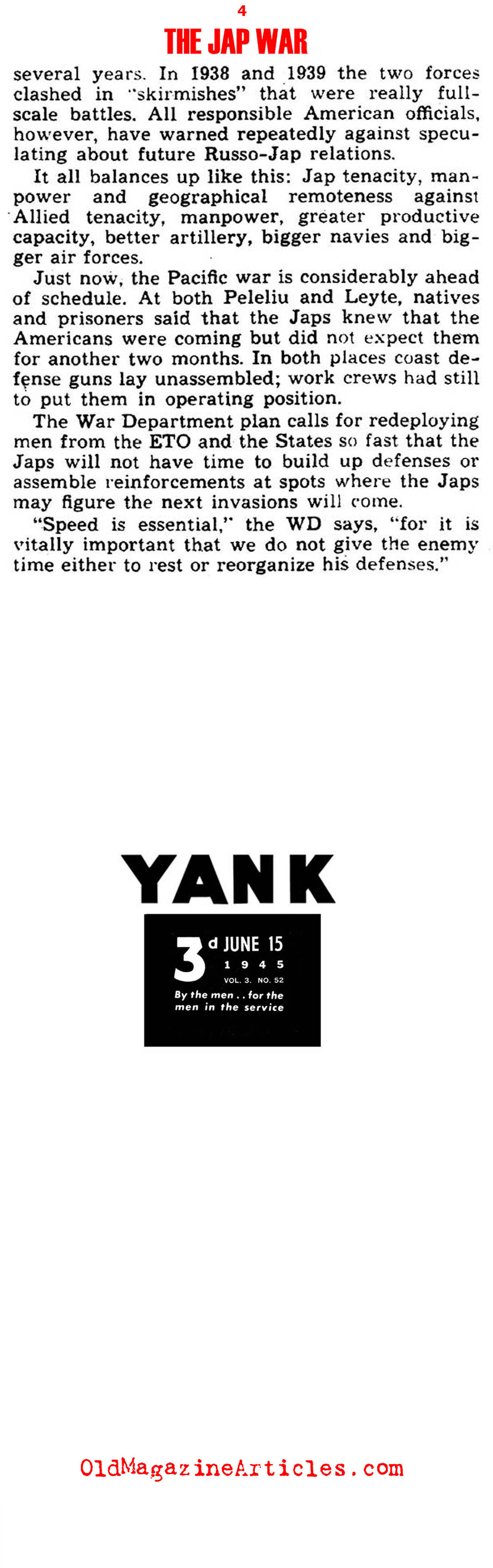 1945  Victory Strategies for the Pacific Theater (Yank Magazine, 1945)