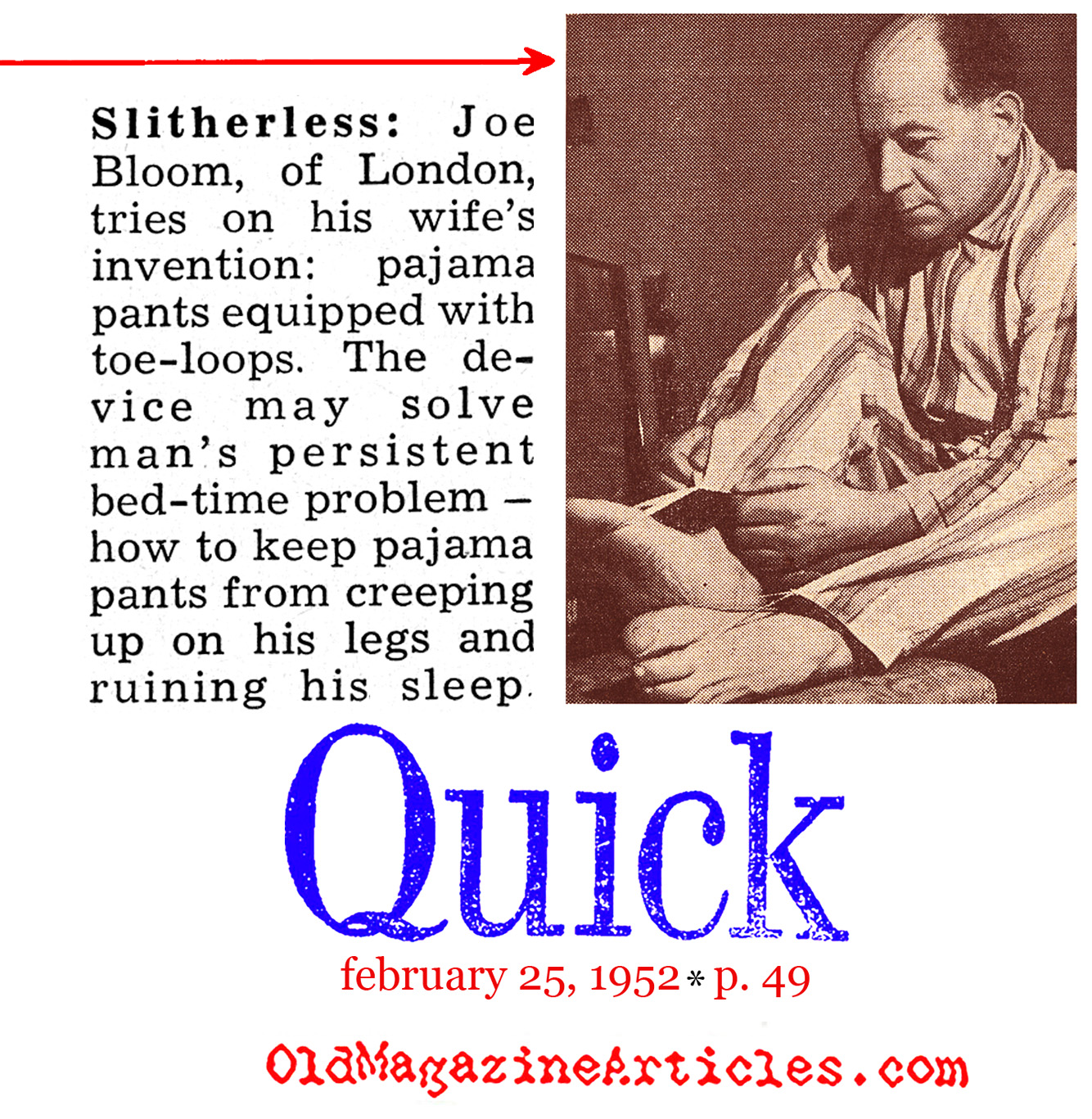Now the Men Can Sleep (Quick Magazine, 1952)
