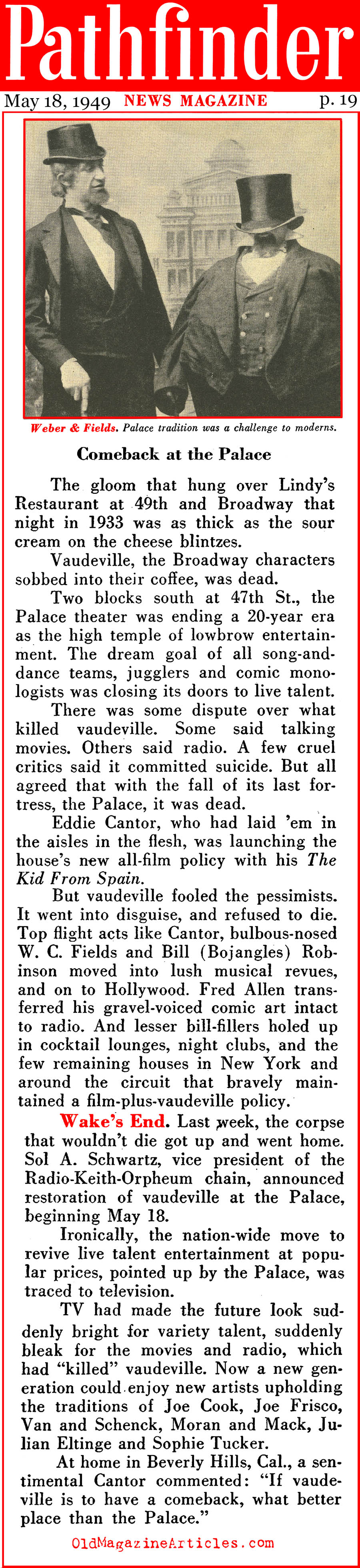 Vaudeville at the Palace Theater - Again (Pathfinder, 1949)