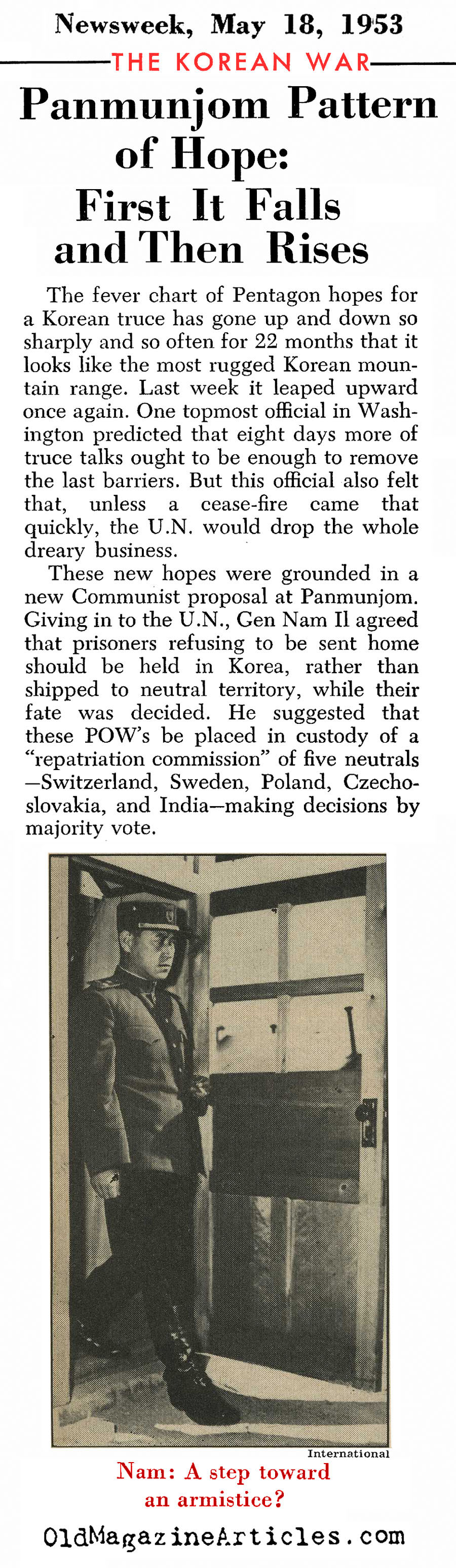 Peace At Last (Newsweek, Quick Magazine, 1953)