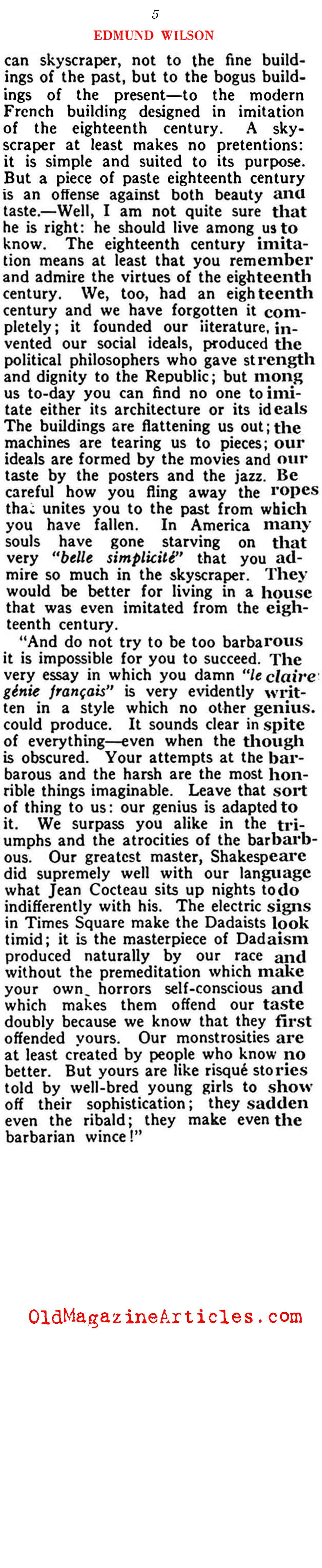 Paris Dada and Jazz (Vanity Fair Magazine, 1922)