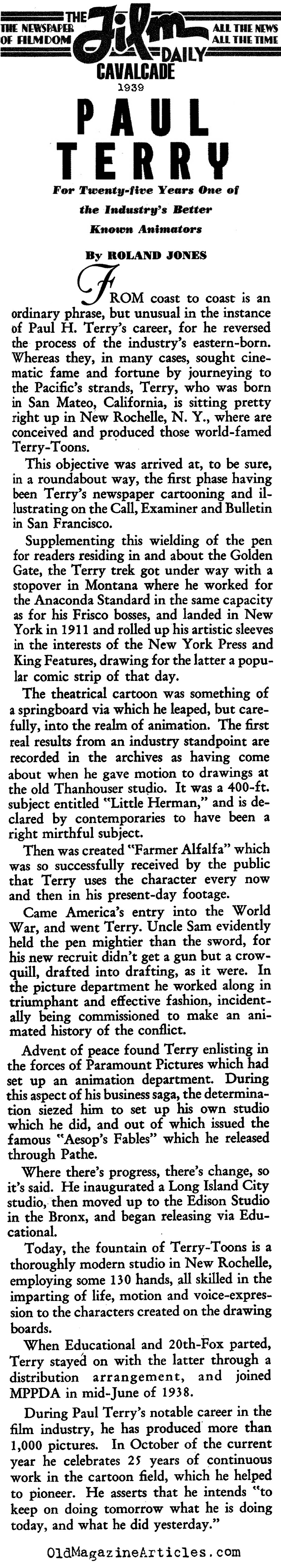 Paul Terry: The Other Animator  (Film Daily, 1939)