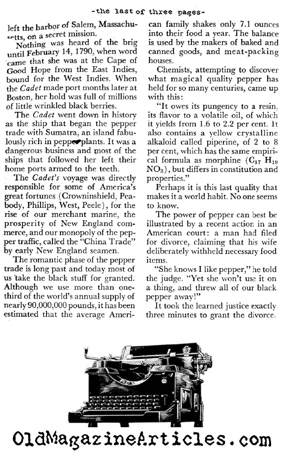 A Brief History of Pepper in America (Coronet Magazine, 1956)