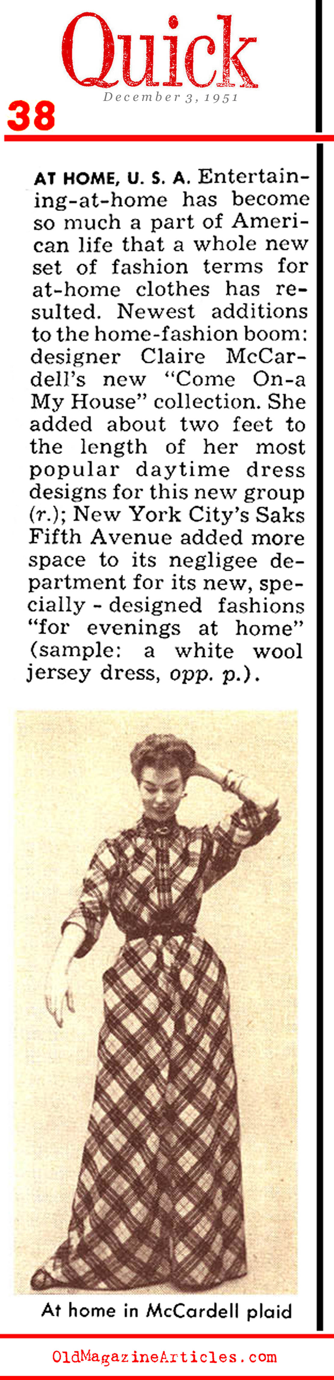 The Strong Economy and its Effect on Fashion (Quick Magazine, 1951)