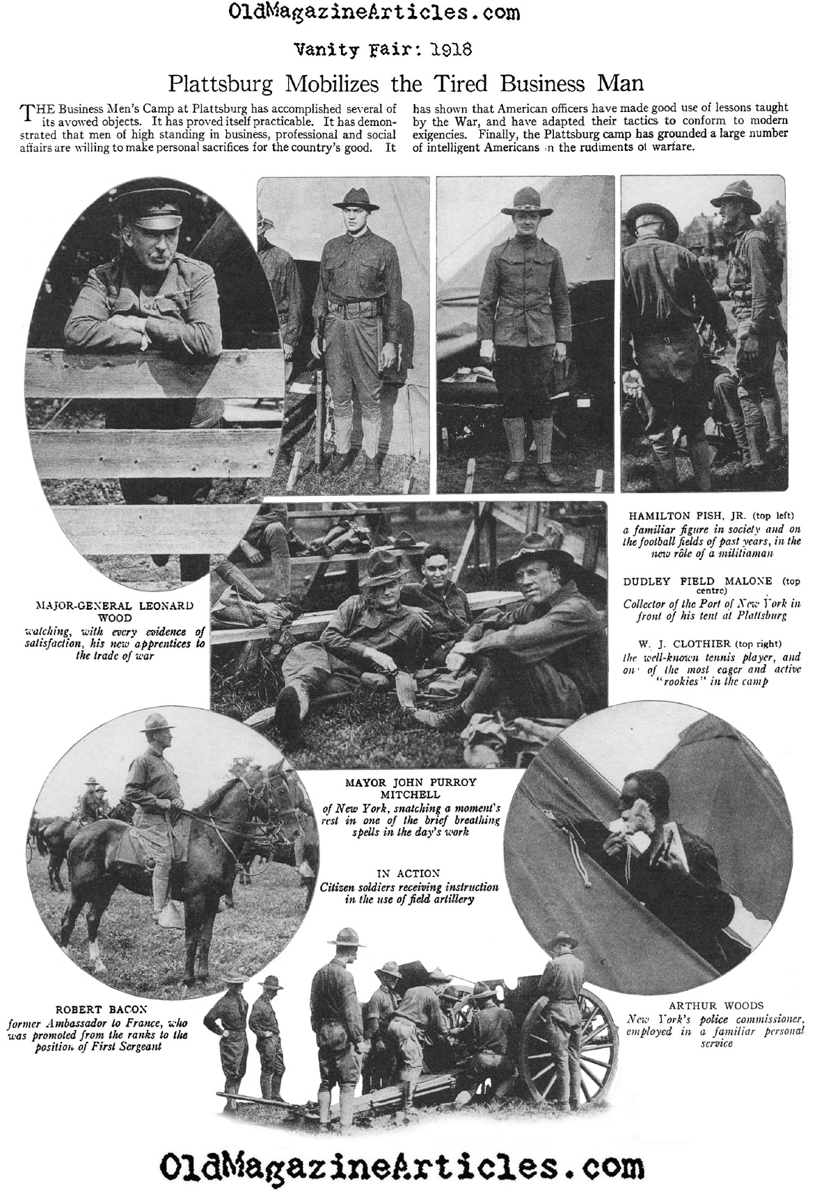 The Training of American Blue Blooded Officers at Plattsburg (Vanity Fair Magazine, 1917)
