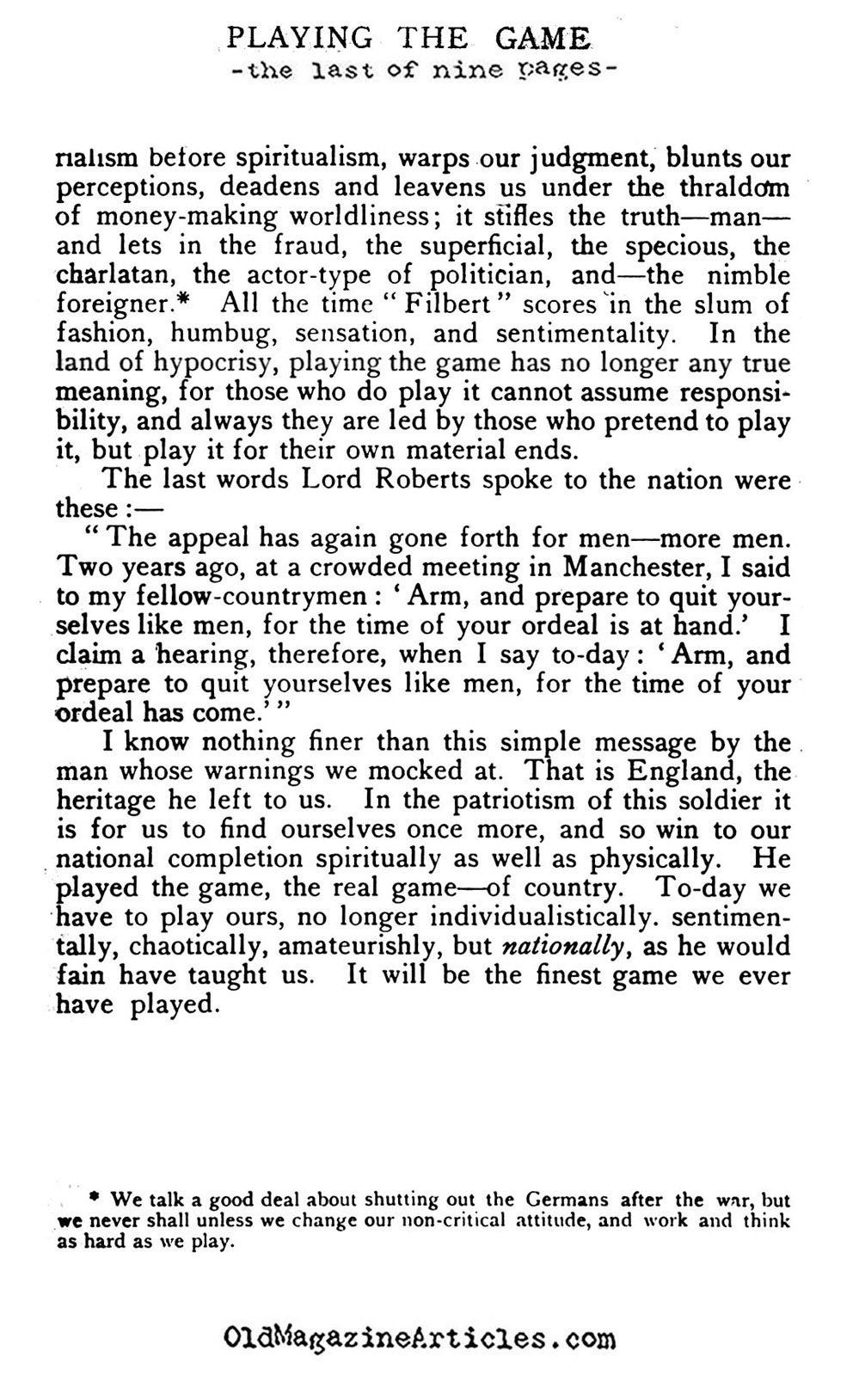 ''Playing the Game'' (The English Review, 1915)