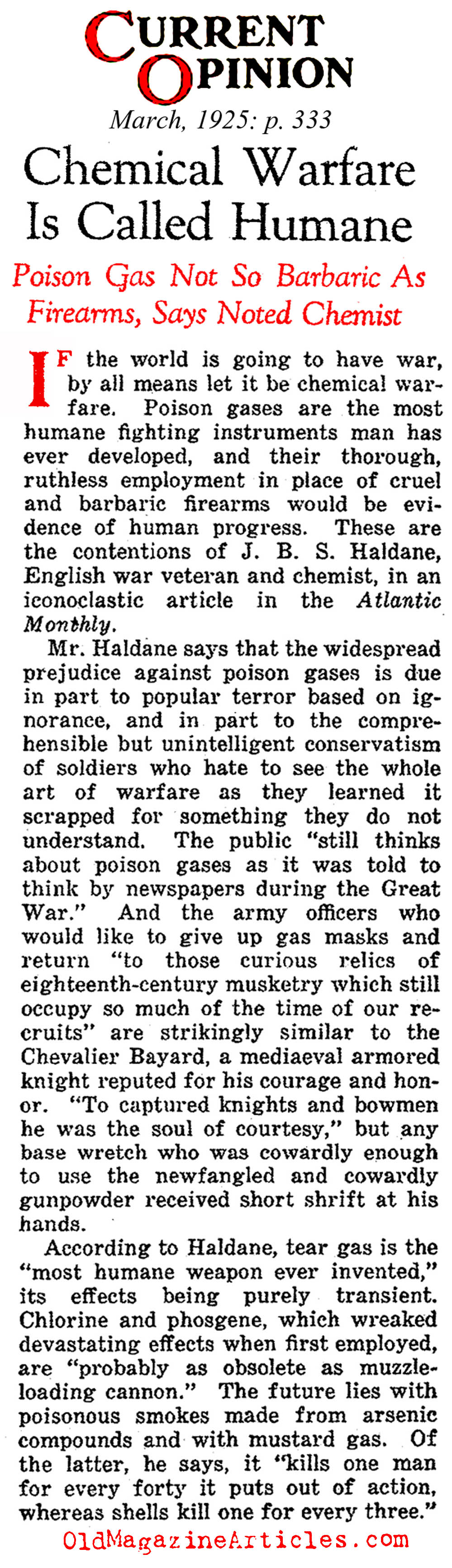 Reconsidering Poison Gas as a Weapon (Current Opinion, 1925)