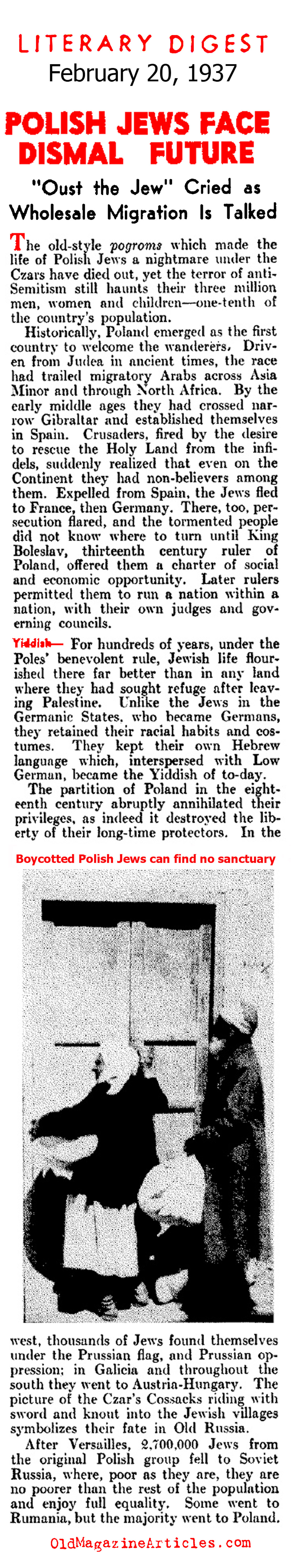 Polish Jews Face Dismal Future (Literary Digest, 1937)