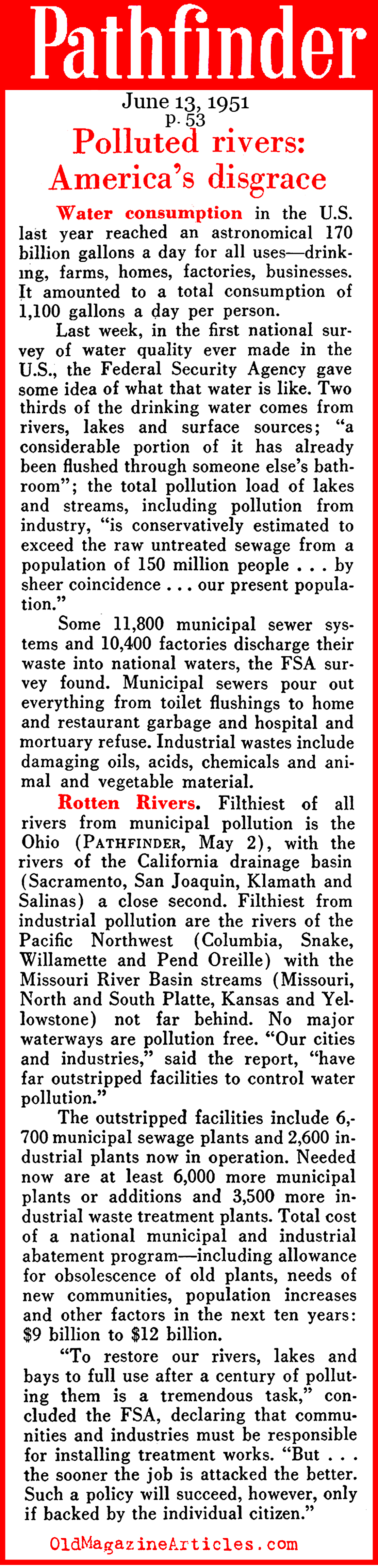 America's Disgrace: Polluted Rivers (Pathfinder Magazine, 1951)