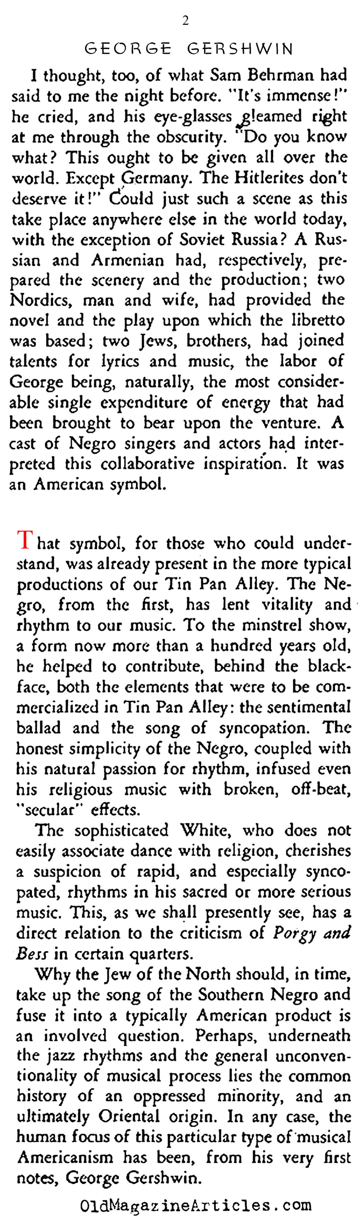 ''Porgy & Bess'' (Stage Magazine, 1935)