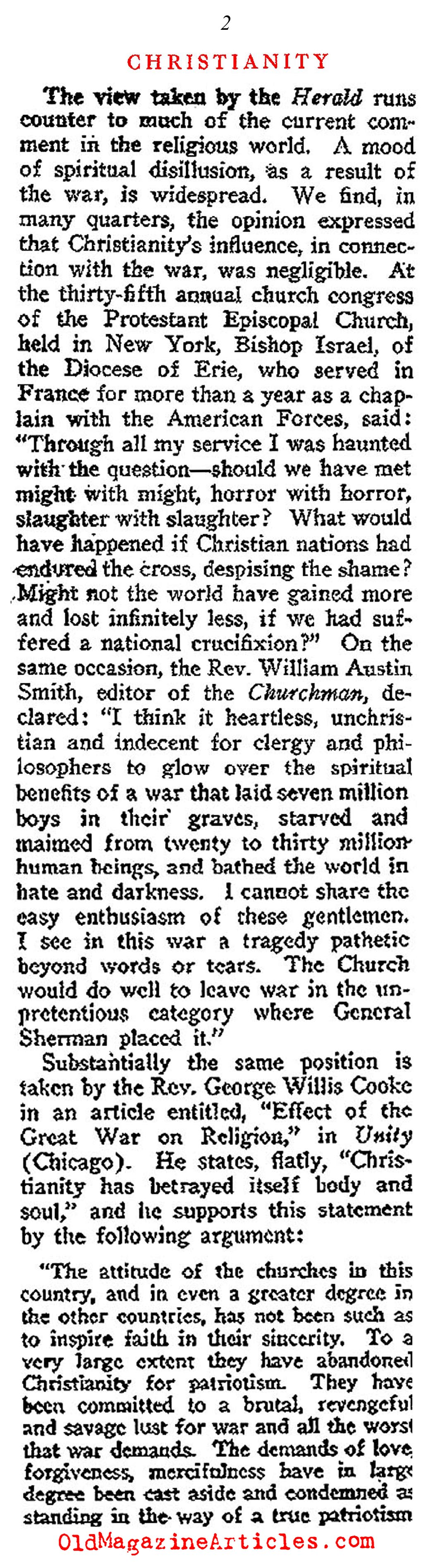 The Spiritual Disillusion of the 1920s (Current Opinion, 1919)