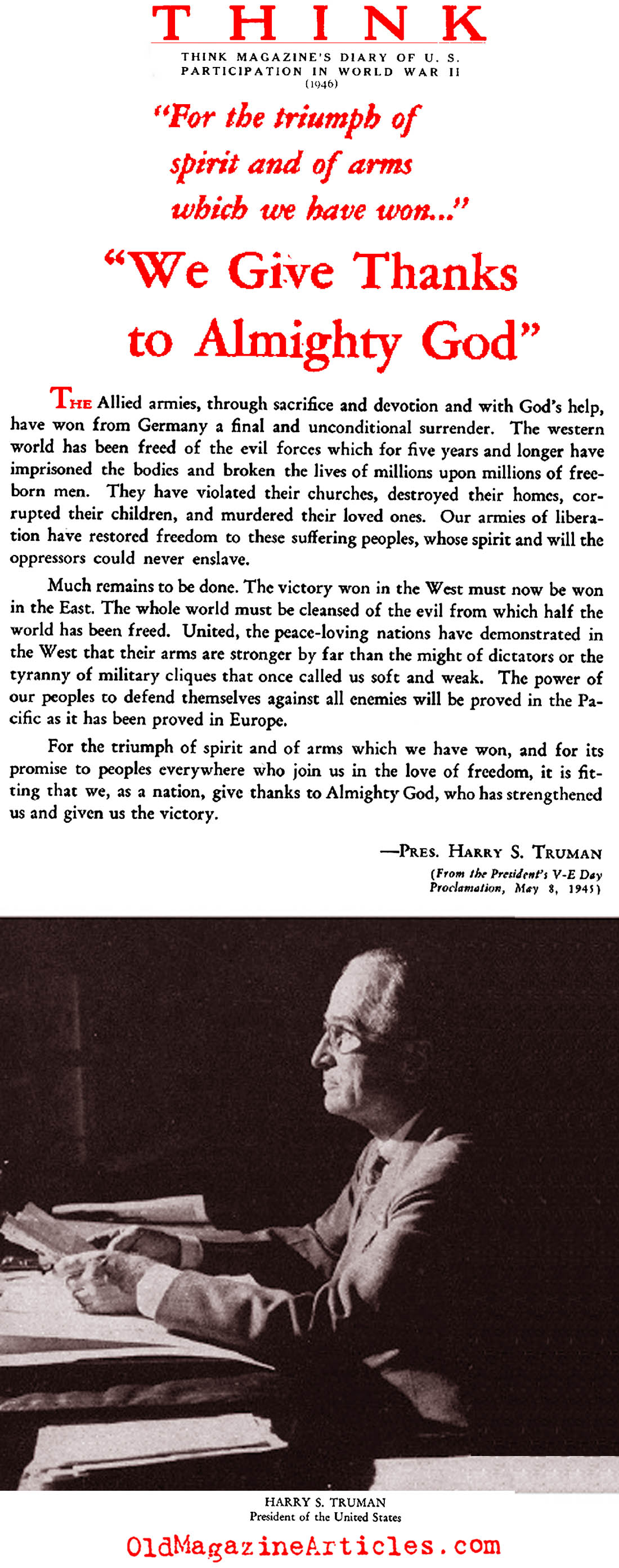 President Truman's VE-Day Proclamation (Think Magazine, 1946)