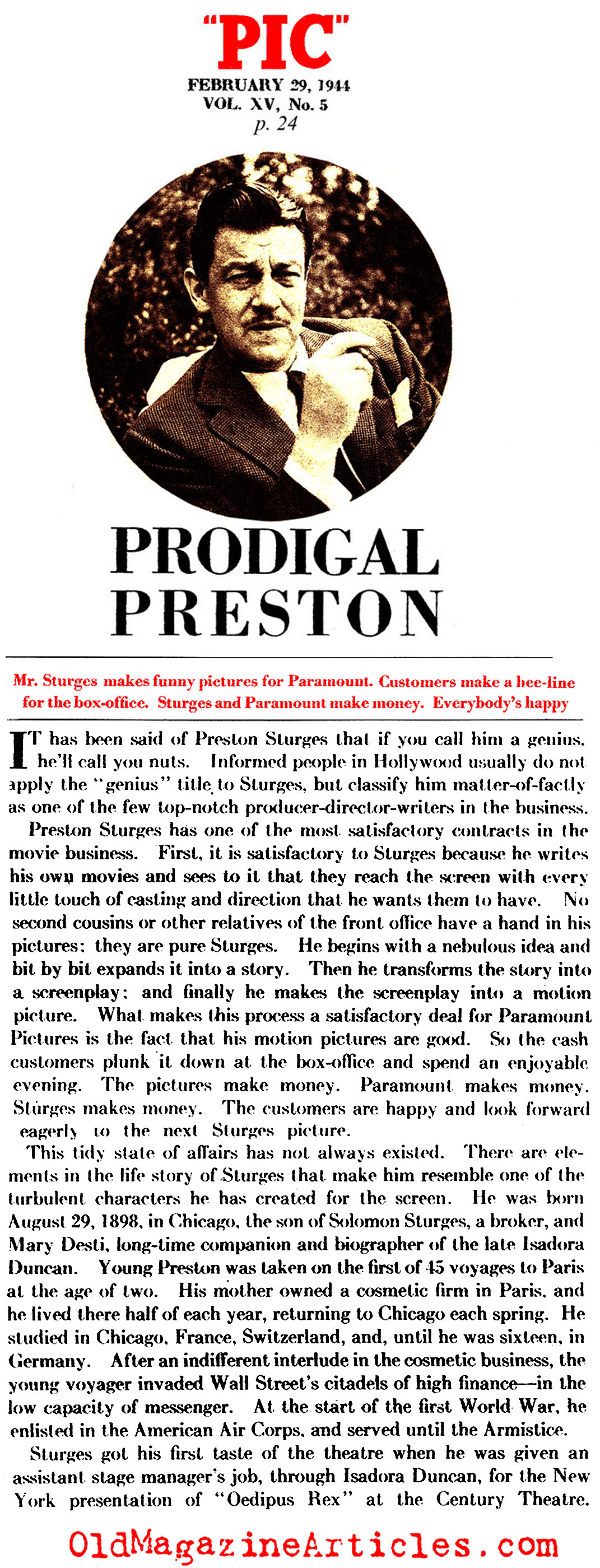 Preston Sturgis, Director (Pic Magazine, 1944)