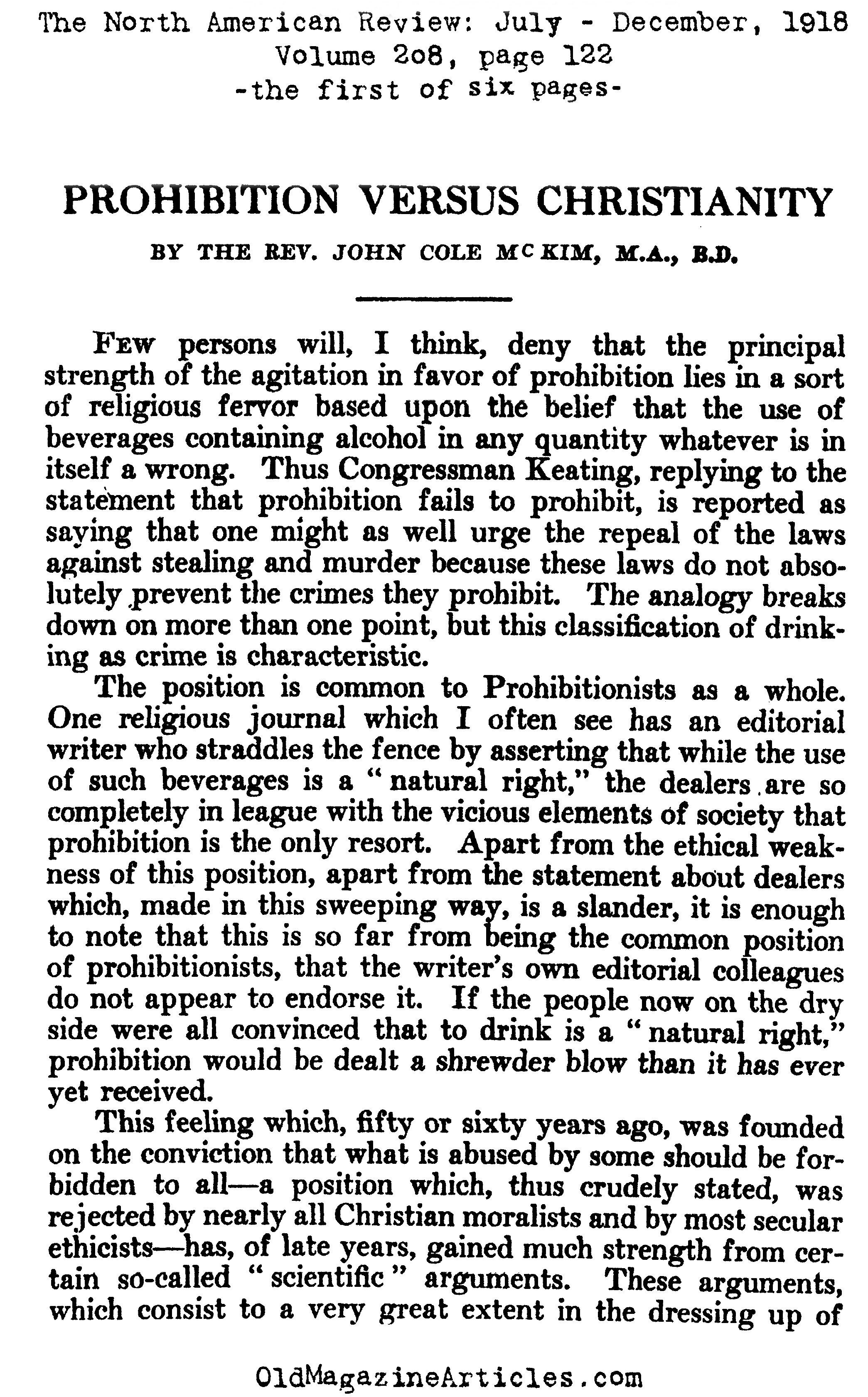 Christianity  Versus  Prohibition (The North American Review, 1918)